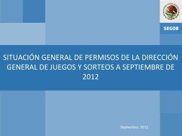 GENERAL DE JUEGOS Y SORTEOS A SEPTIEMBRE DE 2012