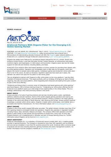 Aristocrat Partners With Ongame Poker for the Emerging U.S Online Gaming Market