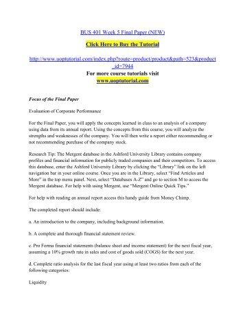 BUS 401 Week 5 Final Paper