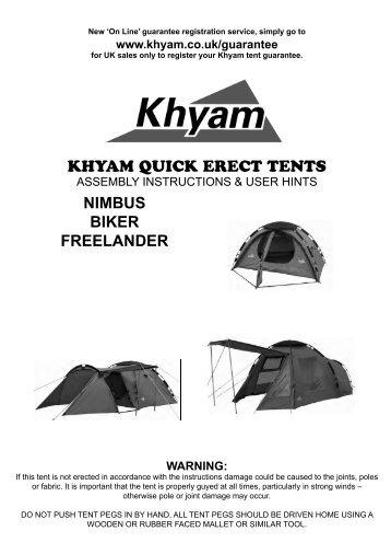 KHYAM QUICK ERECT TENTS NIMBUS BIKER FREELANDER  sc 1 st  Yumpu & KHYAM QUICK ERECT TENTS