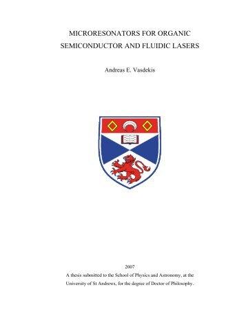 microresonators for organic semiconductor and fluidic lasers