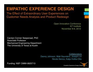 EMPATHIC EXPERIENCE DESIGN - The University of Texas at Austin