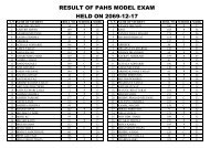 RESULT OF PAHS MODEL EXAM HELD ON 2069-12-17