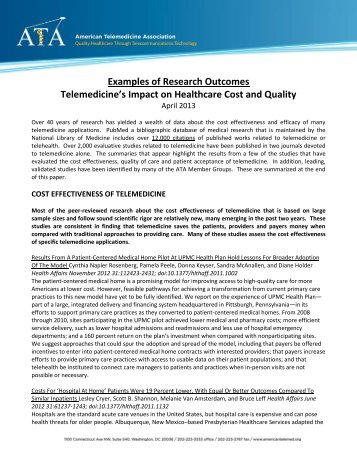 Examples of Research Outcomes Telemedicine's Impact on ...