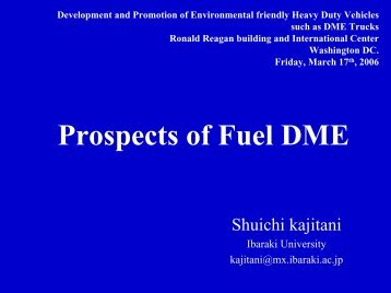 Prospects of Fuel DME