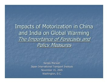 Impacts of Motorization in China and India on Global Warming