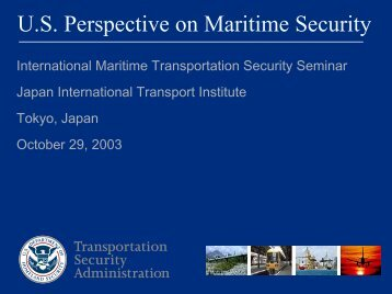 U.S Perspective on Maritime Security