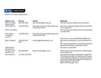 Watch List Contact Information Watch List Phone ... - PA Compliance