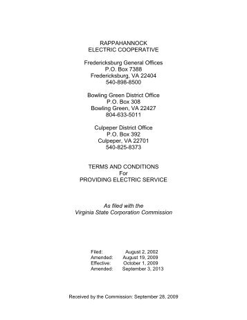 Terms and Conditions - Rappahannock Electric Cooperative