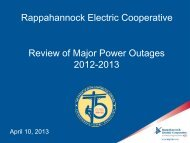 Rappahannock Electric Cooperative Review of Major Power Outages 2012-2013