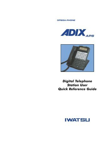 Digital Telephone Station User Quick Reference Guide