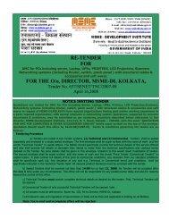 RE-TENDER FOR FOR THE O/o DIRECTOR MSME-DI KOLKATA