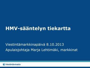 HMV-sääntelyn tiekartta