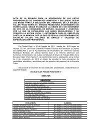 Listado provisional de personal candidato admitido y excluido