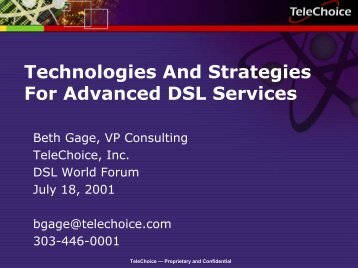 Technologies And Strategies For Advanced DSL Services