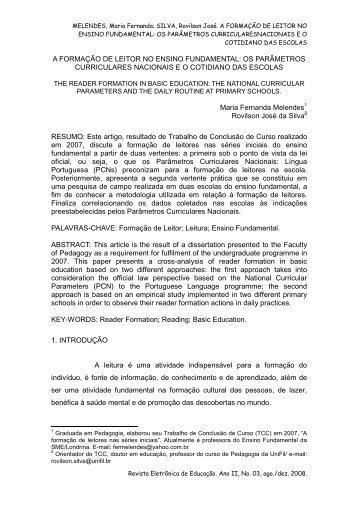5- A formaçao do leitor no ensino fundamental - artigo fina l - UniFil