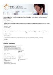 Beleg EU-weite Verbreitung - EnviTec Biogas AG