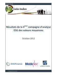 Résultats de la 4 campagne d'analyse ESG des valeurs moyennes
