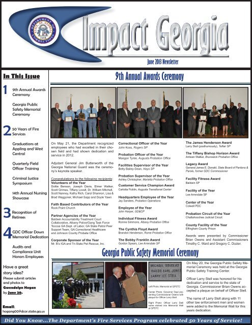 June2013 Newsletter indd - Georgia Department of Corrections