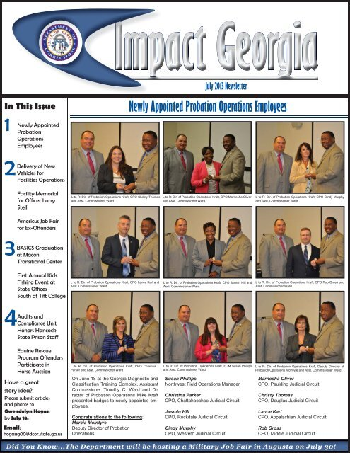 July2013 Newsletter indd - Georgia Department of Corrections