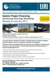 Islamic Project Financing 3rd Annual One-Day Workshop Monday 24 January 2011