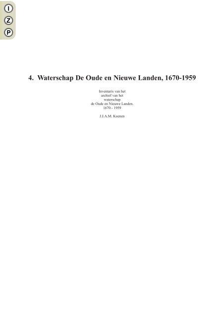 4 Waterschap De Oude en Nieuwe Landen 1670-1959