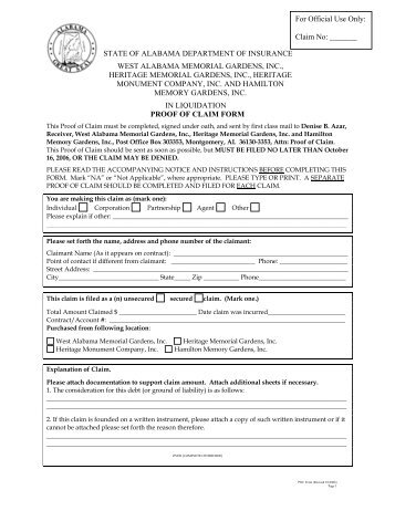 Notice and Proof of Claim - Alabama Department of Insurance