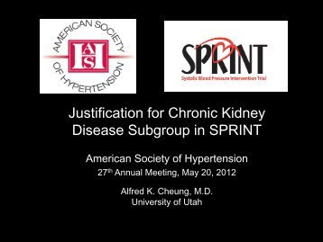 Justification for Chronic Kidney Disease Subgroup in SPRINT