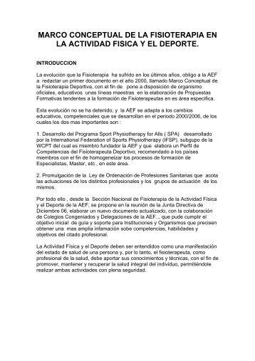 MARCO CONCEPTUAL DE LA FISIOTERAPIA EN LA ACTIVIDAD FISICA Y EL DEPORTE