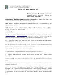 GOVERNO DO ESTADO DO ESPÍRITO SANTO SECRETARIA DE ESTADO DA EDUCAÇÃO