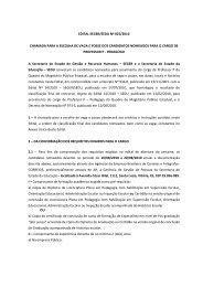 Edital Seger/SEDU nº 025/2010. Chamada para a escolha de vaga ...