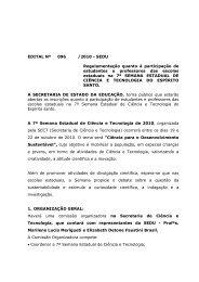 Regulamentação da 7ª Semana Estadual de Ciências e ... - Sedu