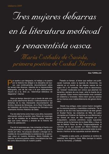 Tres mujeres debarras en la literatura medieval y renacentista vasca