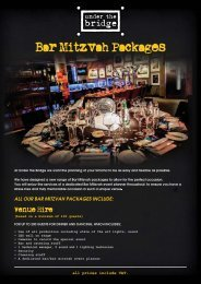 ALL OUR BAR MITZVAH PACKAGES INCLUDE