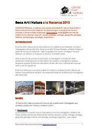 Beca Art i Natura a la Recerca 2013