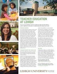TEACHER EDUCATION AT LEHIGH