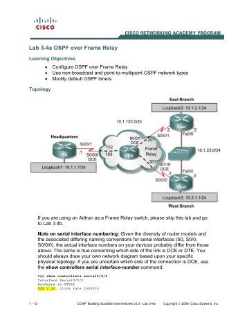 Lab 6.9.2b Configuring Point-to-Multipoint OSPF Over Frame Relay