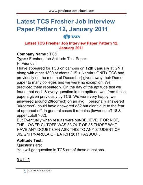 Latest TCS Fresher Job Interview Paper Pattern 12 January 2011