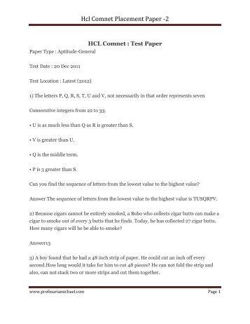 Hcl Comnet Placement Paper -2