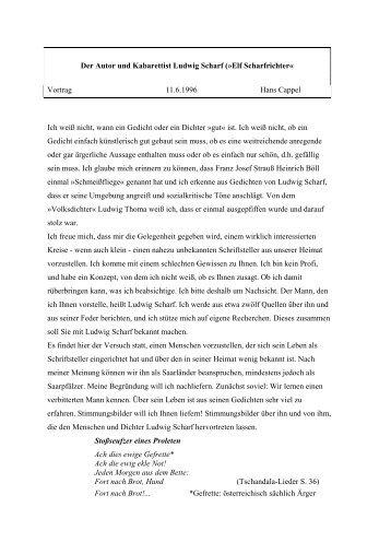 Der Autor und Kabarettist Ludwig Scharf (»Elf Scharfrichter« Vortrag ...