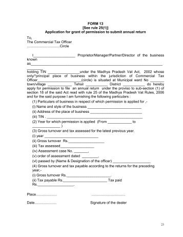 FORM 24-D (See Rule 153) APPLICATION FOR THE GRANT ...