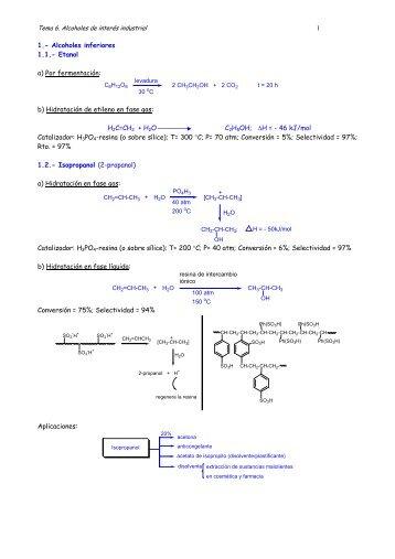 1 1.- Alcoholes inferiores 1.1.- Etanol a) Por fermentación: b ...