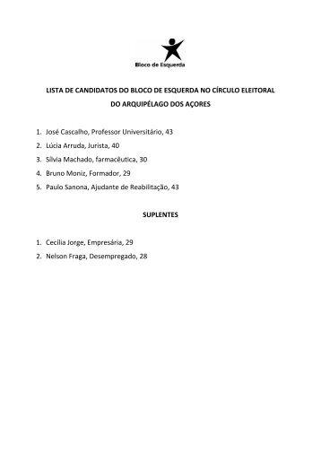 LISTA DE CANDIDATOS DO BLOCO DE ESQUERDA NO CÍRCULO ...