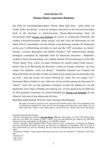 Thomas Manns vergessenes Kindchen