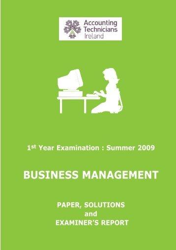 Business Management Summer 2009 - Accounting Technicians ...
