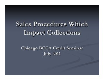 Sales Procedures Which Impact Collections