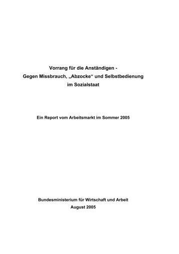 """Vorrang für die Anständigen - Gegen Missbrauch, """"Abzocke"""" und ..."""
