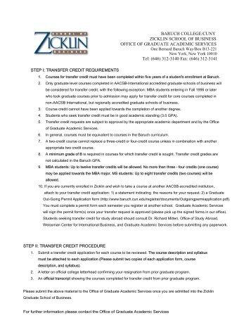 BARUCH COLLEGE/CUNY ZICKLIN SCHOOL OF BUSINESS ...