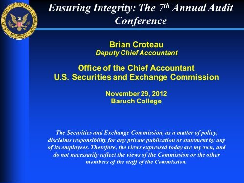 Ensuring Integrity The 7 Annual Audit Conference