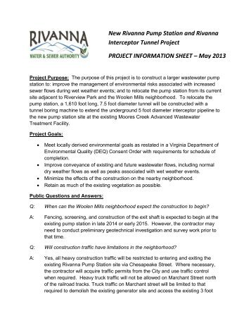Interceptor Tunnel Project PROJECT INFORMATION SHEET – May 2013